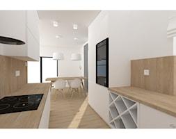 Dom jednorodzinny Kętrzyn - Średnia otwarta biała kuchnia dwurzędowa z oknem, styl nowoczesny - zdjęcie od Myosotis Studio
