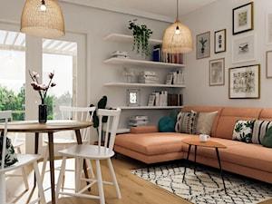 Projekt salonu z aneksem kuchennym- domowa atmosfera