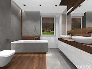 Salon kąpielowy - Nowoczesny minimalizm. - Duża biała szara łazienka z oknem, styl minimalistyczny - zdjęcie od MaxDesigner