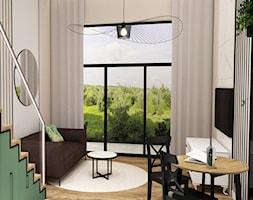 2 W 1 - Mały biały beżowy salon z jadalnią z tarasem / balkonem, styl nowoczesny - zdjęcie od MyBigBox Architekci