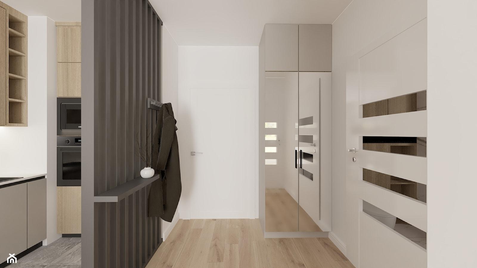 Przedpokój oddzielony ścianką ażurową z lameli lakierowanych - zdjęcie od Fancy Design Warsaw - Homebook