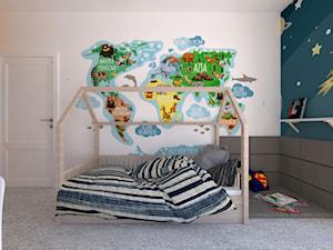 Mieszkanie 135 m2 w Warszawie przy Sadybie - Duży biały niebieski pomarańczowy pokój dziecka dla chłopca dla dziewczynki dla ucznia dla malucha, styl nowoczesny - zdjęcie od Fancy Design Warsaw