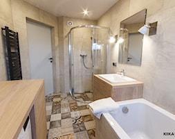 NOWE SZATY DLA WNĘTRZA - Średnia biała beżowa łazienka, styl nowoczesny - zdjęcie od KIKAROOM