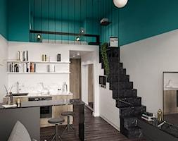 Modern deco - Średnia otwarta biała niebieska kuchnia dwurzędowa w aneksie, styl art deco - zdjęcie od mow.design
