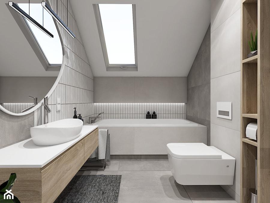 SKANDYNAWSKA SZAROŚĆ Z TURKUSEM - Średnia szara łazienka na poddaszu w domu jednorodzinnym z oknem, styl skandynawski - zdjęcie od Wutektura