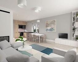 Projekt salonu z otwartą kuchnią - zdjęcie od WZOROWO STUDIO