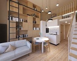 Projekt mikroapartamentu dla singla/singielki w inwestycji Minimaxy we Wrocławiu - Mały biały brązowy salon z kuchnią z jadalnią z antresolą - zdjęcie od k.onichimowska