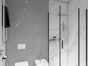 Mieszkanie Ochota - Mała biała szara łazienka w bloku w domu jednorodzinnym bez okna, styl minimalistyczny - zdjęcie od ZKA architekci