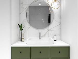 Mieszkanie Ochota - Mała biała łazienka w bloku w domu jednorodzinnym bez okna, styl minimalistyczny - zdjęcie od ZKA architekci