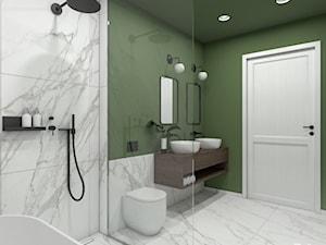 Dom prywatny - Średnia biała zielona łazienka w bloku w domu jednorodzinnym bez okna, styl minimalistyczny - zdjęcie od ZKA architekci