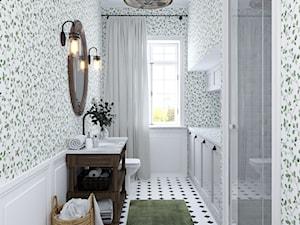 Country Style - Duża biała szara łazienka w bloku w domu jednorodzinnym z oknem, styl rustykalny - zdjęcie od Olga's Studio