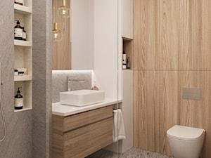 Subtelny Wilanów - Mała szara łazienka w bloku w domu jednorodzinnym bez okna, styl nowoczesny - zdjęcie od M!kaDesign