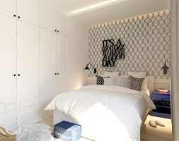 Między czernią a bielą - Średnia kolorowa sypialnia małżeńska, styl eklektyczny - zdjęcie od M!kaDesign - Homebook