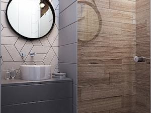 NA ŻOLIBORZU - Mała beżowa szara łazienka na poddaszu w bloku w domu jednorodzinnym bez okna, styl nowoczesny - zdjęcie od M!kaDesign