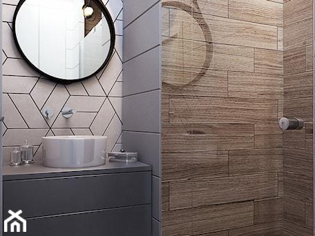 Aranżacje wnętrz - Łazienka: NA ŻOLIBORZU - Mała beżowa szara łazienka na poddaszu w bloku w domu jednorodzinnym bez okna, styl nowoczesny - M!kaDesign. Przeglądaj, dodawaj i zapisuj najlepsze zdjęcia, pomysły i inspiracje designerskie. W bazie mamy już prawie milion fotografii!