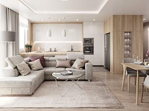 Subtelny Wilanów - Średni szary biały salon z barkiem z kuchnią z jadalnią, styl nowoczesny - zdjęcie od M!kaDesign
