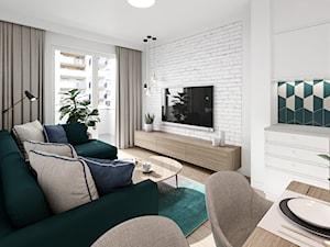 Na Bemowie w stylu skandynawskim - Średni biały salon z jadalnią z tarasem / balkonem, styl skandynawski - zdjęcie od M!kaDesign