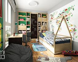 PRZYTULNY EKLEKTYZM - Średni szary zielony pokój dziecka dla chłopca dla dziewczynki dla ucznia dla malucha, styl eklektyczny - zdjęcie od M!kaDesign