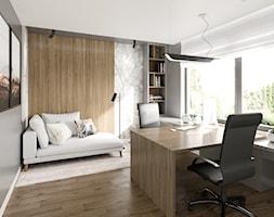 Elegancki dom na Ursynowie - Średnie beżowe szare biuro domowe w pokoju, styl nowoczesny - zdjęcie od M!kaDesign
