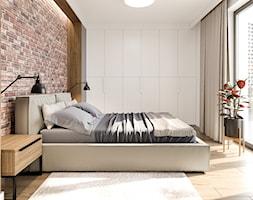 Na Bemowie - Średnia biała brązowa sypialnia małżeńska, styl nowoczesny - zdjęcie od M!kaDesign - Homebook