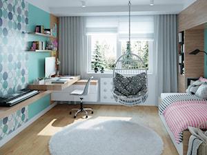 Metamorfoza na Bemowie - Średni biały miętowy niebieski pokój dziecka dla dziewczynki dla ucznia dla nastolatka, styl nowoczesny - zdjęcie od M!kaDesign