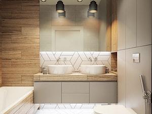 NA ŻOLIBORZU - Mała brązowa szara łazienka w bloku bez okna, styl nowoczesny - zdjęcie od M!kaDesign