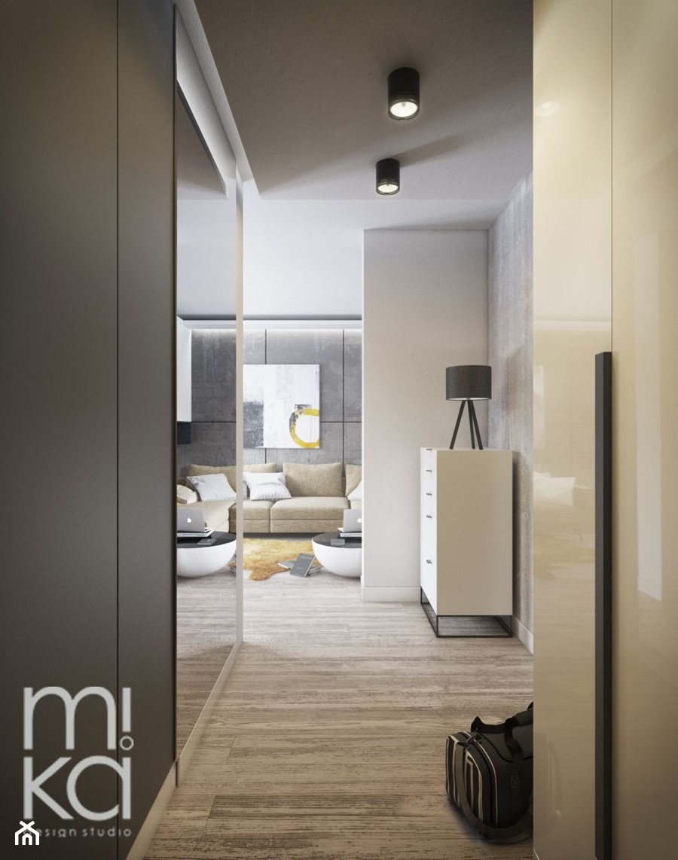 Minimalistyczna Wola - Średni biały czarny hol / przedpokój, styl nowoczesny - zdjęcie od M!kaDesign