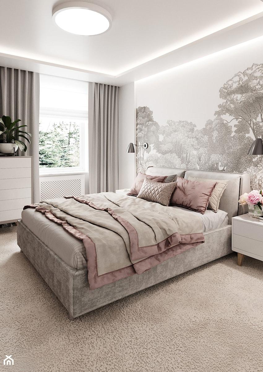 Subtelny Wilanów - Średnia biała sypialnia małżeńska, styl nowoczesny - zdjęcie od M!kaDesign