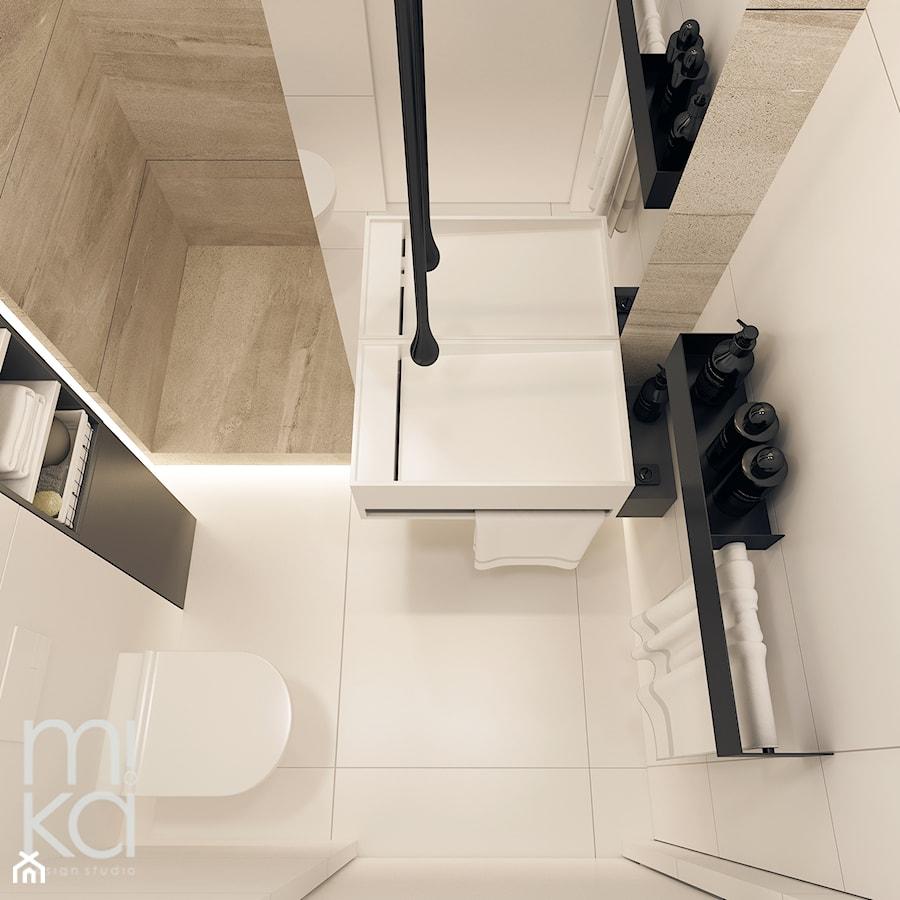 Elegancki Ursynów - Mała biała łazienka na poddaszu w bloku w domu jednorodzinnym bez okna, styl nowoczesny - zdjęcie od M!kaDesign