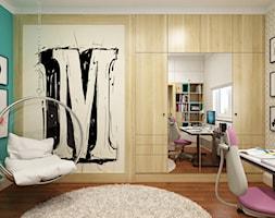 Elegancki Ursynów - Średni biały beżowy miętowy pokój dziecka dla dziewczynki dla ucznia dla nastolatka, styl nowoczesny - zdjęcie od M!kaDesign