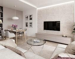 Subtelny Wilanów - Średni biały beżowy salon z bibiloteczką z jadalnią, styl nowoczesny - zdjęcie od M!kaDesign