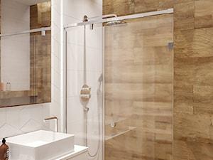 PRZYTULNY EKLEKTYZM - Mała biała łazienka na poddaszu w bloku w domu jednorodzinnym bez okna, styl eklektyczny - zdjęcie od M!kaDesign