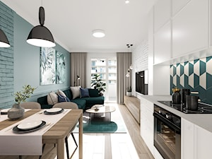 Na Bemowie w stylu skandynawskim - Średni biały zielony salon z kuchnią z jadalnią, styl skandynawski - zdjęcie od M!kaDesign