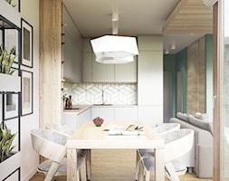 NA ŻOLIBORZU - Średnia otwarta biała jadalnia w kuchni, styl nowoczesny - zdjęcie od M!kaDesign