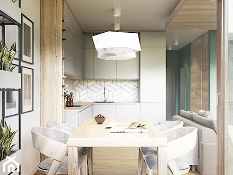 Aranżacje wnętrz - Jadalnia: NA ŻOLIBORZU - Średnia otwarta biała jadalnia w kuchni, styl nowoczesny - M!kaDesign. Przeglądaj, dodawaj i zapisuj najlepsze zdjęcia, pomysły i inspiracje designerskie. W bazie mamy już prawie milion fotografii!