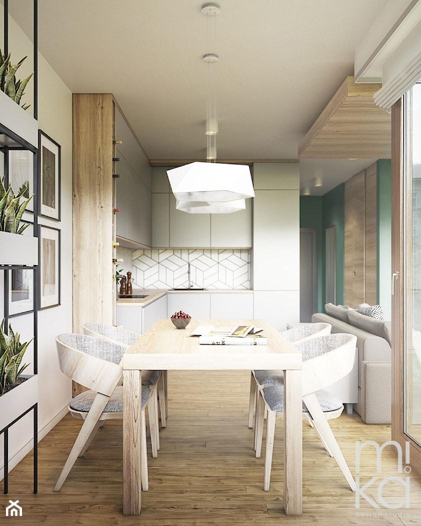 NA ŻOLIBORZU - Średnia otwarta biała jadalnia w kuchni, styl nowoczesny - zdjęcie od M!kaDesign - Homebook
