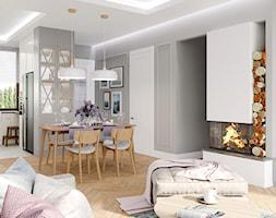 Mokotów z romantyczna nutą - Duży szary biały salon z kuchnią z jadalnią, styl eklektyczny - zdjęcie od M!kaDesign - Homebook