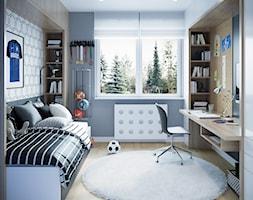 Metamorfoza na Bemowie - Średni biały szary pokój dziecka dla chłopca dla ucznia dla nastolatka, styl nowoczesny - zdjęcie od M!kaDesign
