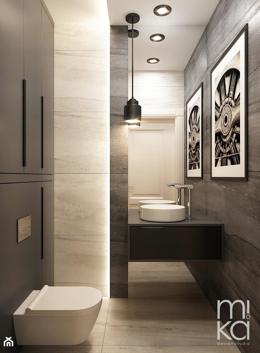 Elegancki Ursynów - Mała czarna szara łazienka w bloku w domu jednorodzinnym bez okna, styl nowoczesny - zdjęcie od M!kaDesign