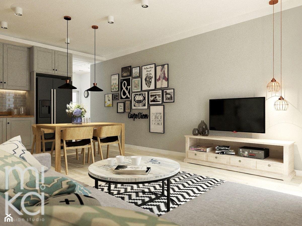 Między czernią a bielą - Duży szary salon z kuchnią z jadalnią, styl eklektyczny - zdjęcie od M!kaDesign - Homebook