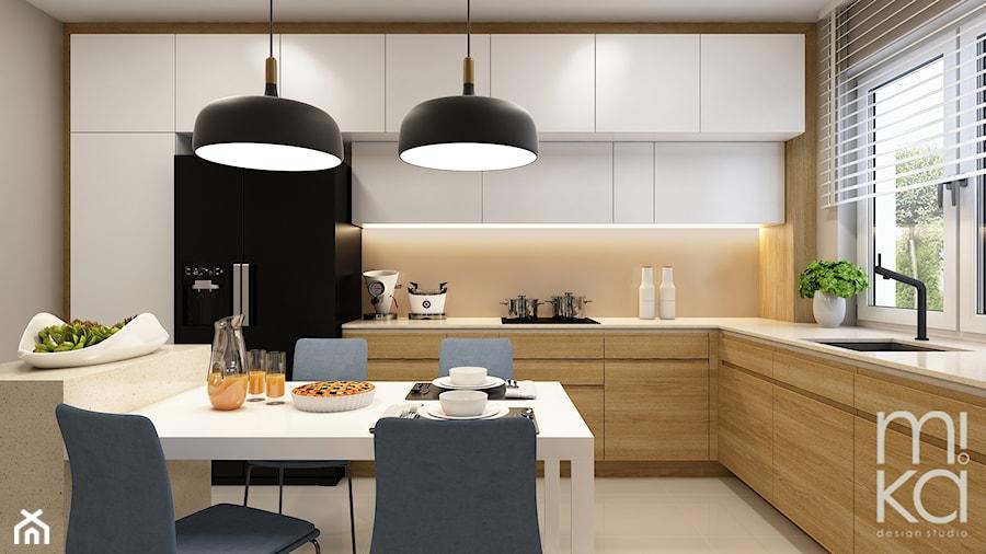 Elegancki Ursynów - Duża beżowa kuchnia w kształcie litery l z oknem, styl nowoczesny - zdjęcie od M!kaDesign