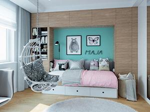 Metamorfoza na Bemowie - Średni biały turkusowy pokój dziecka dla dziewczynki dla malucha dla nastolatka, styl nowoczesny - zdjęcie od M!kaDesign