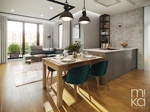 Na Mokotowie - Otwarta biała szara kuchnia jednorzędowa w aneksie, styl eklektyczny - zdjęcie od M!kaDesign