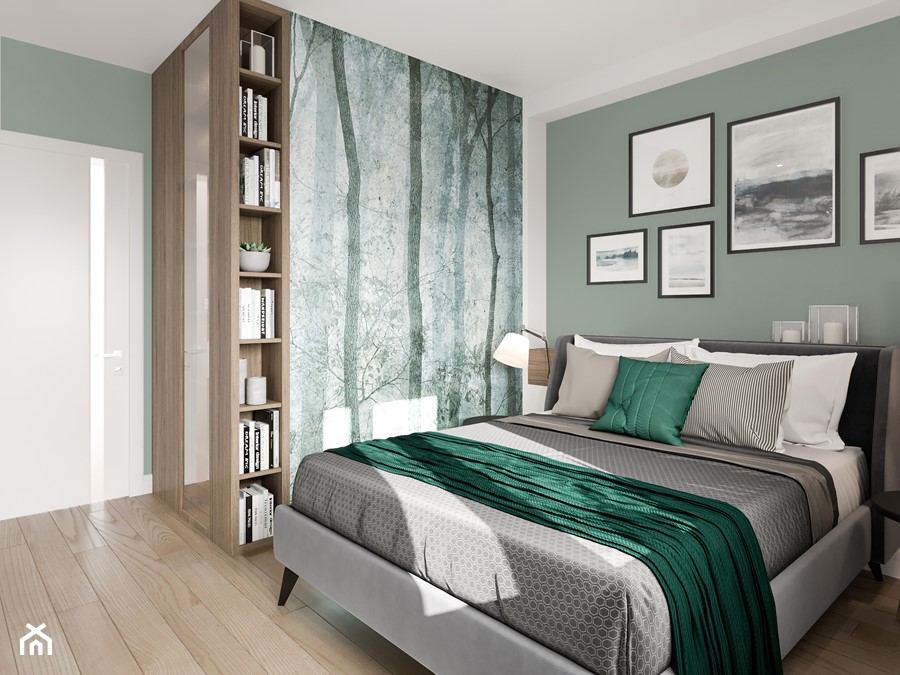 Na Bemowie w stylu skandynawskim - Średnia zielona sypialnia małżeńska, styl skandynawski - zdjęcie od M!kaDesign