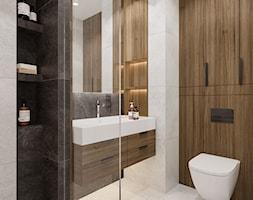 Na Bemowie - Średnia czarna szara łazienka w bloku w domu jednorodzinnym bez okna, styl nowoczesny - zdjęcie od M!kaDesign - Homebook