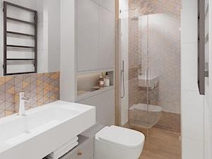 Mokotów z romantyczna nutą - Mała szara łazienka w bloku w domu jednorodzinnym bez okna, styl nowoczesny - zdjęcie od M!kaDesign