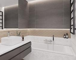 Na Bemowie - Mała czarna szara łazienka w bloku w domu jednorodzinnym bez okna, styl nowoczesny - zdjęcie od M!kaDesign - Homebook