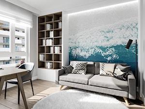 Na Bemowie w stylu skandynawskim - Średni biały szary turkusowy pokój dziecka dla ucznia dla nastolatka, styl skandynawski - zdjęcie od M!kaDesign