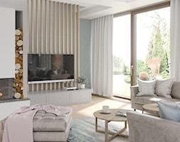 Mokotów z romantyczna nutą - Średni szary biały salon z tarasem / balkonem, styl eklektyczny - zdjęcie od M!kaDesign - Homebook