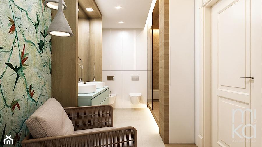 Elegancki Ursynów - Średnia szara łazienka w bloku w domu jednorodzinnym bez okna, styl nowoczesny - zdjęcie od M!kaDesign